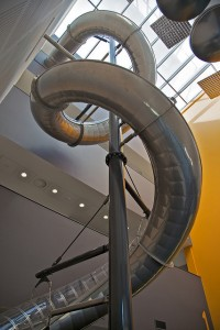 We have a 3 story helter skelter in our offices. No really, we do!